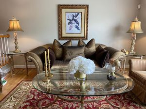"""Marge Carson Silk Bronze Sofa Custom Made (Sofa & Pillows Are Included) 45"""" x 104"""" for Sale in Vienna, VA"""