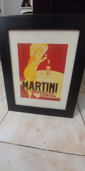 Framed Art Marcello Dudovich Martini Rossi - Torino, beautiful frame and ready to hang for Sale in Boynton Beach, FL