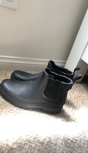 Black leather rain boots for Sale in Chino, CA