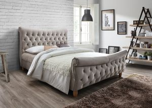 Brand New King Size Champagne Color Upholstered Platform Bed Frame ONLY for Sale in Silver Spring, MD
