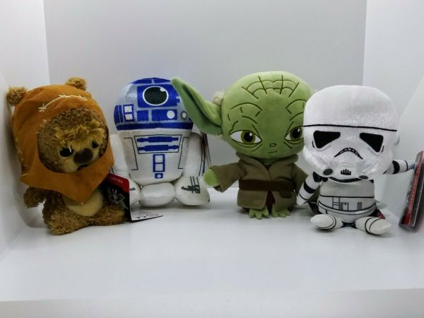 Set of 4 Funko Star Wars Galactic Plushies: Yoda, R2D2, Wicket, Storm Trooper
