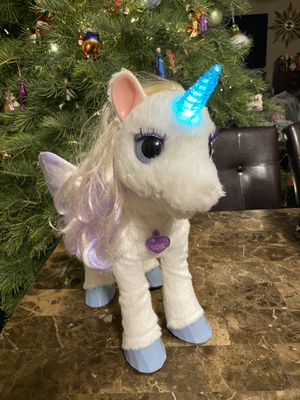 FurReal Friends Starlily My Magical Unicorn Hasbro Interactive Star Lily. Lights animation and sound! for Sale in CARPENTERSVLE, IL