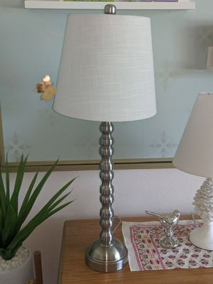 """28 ¼"""" Chrome lamp with white shade for Sale in Lodi, CA"""