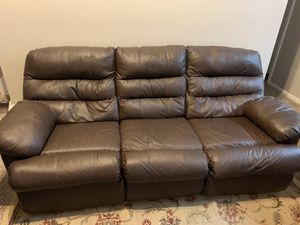 Leather reclining sofa in good condition! Comes with reclining chair for Sale in Arvada, CO