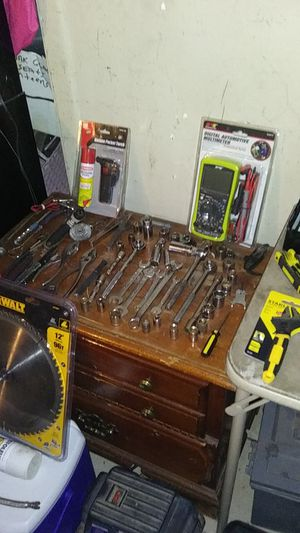Tools......brand new multi reader in package. Torches propane. Set of drill bits.. Ratchets... Sockets..gauges...mcompressor..knew ice chest... for Sale in Glendale, AZ