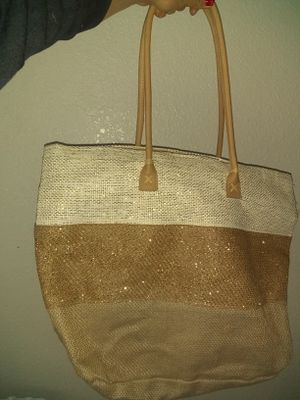 Burlap stripped tote bag $4 FIRM for Sale in Sacramento, CA