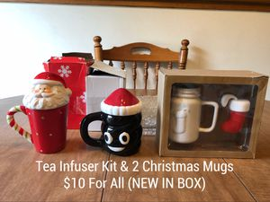 New In Box Christmas Mugs and Tea Infuser Kit for Sale in Indianapolis, IN