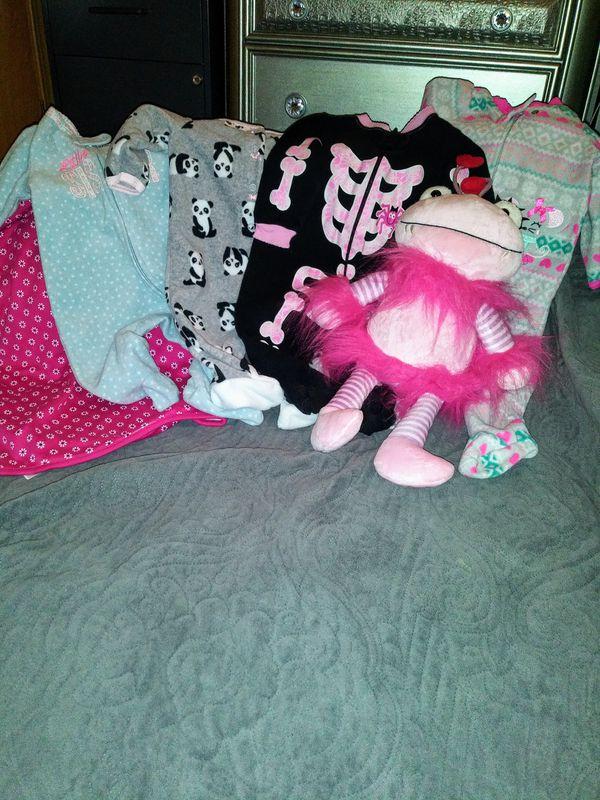 Three to six months footie onesies, pink child of mine blanket, stuffed animal