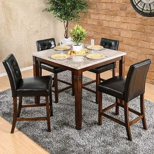 BROWN CHERRY FINISH 5 PIECE COUNTER HEIGHT DINING TABLE SET Genuine Marble Top / CEMEDOR 5 PC MESA SILLAS for Sale in Riverside, CA