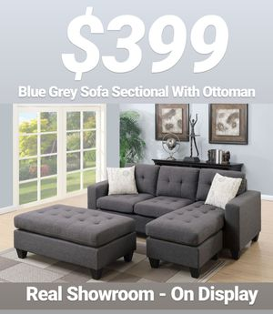 Real Showroom 😁 We Finance - Blue Grey Reversible Chaise Couch Sofa Sectional With Ottoman for Sale in Los Angeles, CA