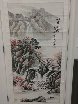 Chinese Waterfall Landscape Scroll Art Painting for Sale in Baltimore, MD