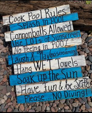 Pool rules wood sign for Sale in Mesa, AZ