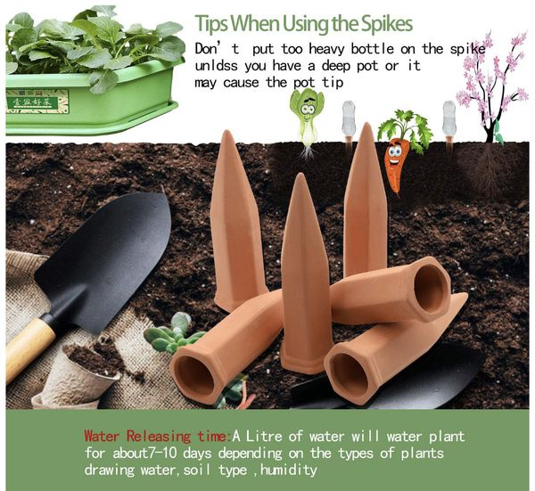 Plant Watering Stakes10 Pack Automatic Plant Waterers for Vacations, Plant Watering Devices Terracotta Self Watering Spikes for Wine Bottles Great Pl