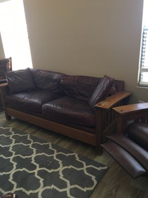 Solid wood leather couch recliner set for Sale in Phoenix, AZ