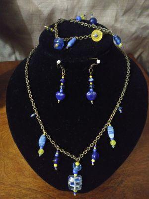 Cobalt blue / Yellow Necklace, Earring, Bracelet Set for Sale in Elizabeth, PA
