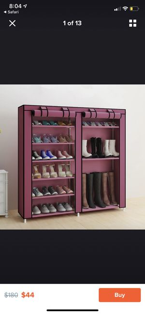 6 Tier 12 Grid Home Shoe Rack Shelf Storage Closet Organizer Cabinet with Cover $44 for Sale in Cincinnati, OH