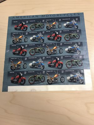 AMERICAN MOTORCYCLES 20 Stamp Sheet Set Indian Harley Chopper for Sale in Pasadena, TX