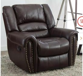 Brown Recliner Chair Faux Leather Oversized Reclining Sofa Heavy Duty and Overstuffed Arms and Back Classic Recliners for Sale in El Monte,  CA