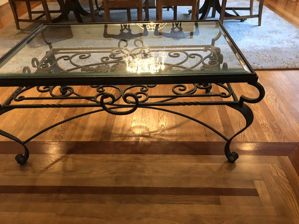 Iron and glass coffee table