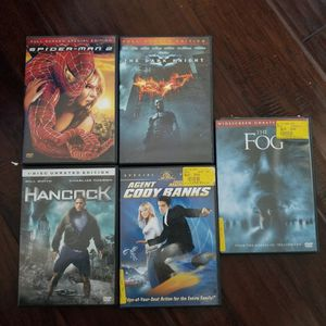 DVDs - Spiderman, Dark Night, Hancock, Cody Banks, Fog for Sale in Hayward, CA