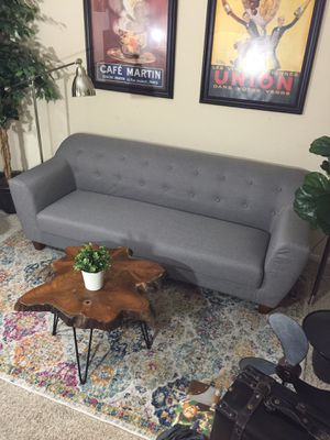 Mid century modern tufted Grey upholstered sofa retail $850 for Sale in San Diego, CA