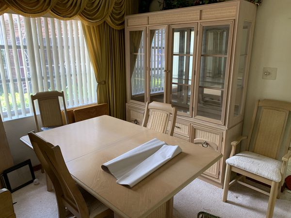 Two small Beds 100$ each, Chairs and table w/ leaf 150$ matching china hutch 100$