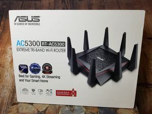 ASUS RT-AC5300 AC5300 Tri-Band WiFi Gaming Router, MU-MIMO, AiProtection Lifetime Security by Trend Micro, AiMesh Compatible for Mesh WiFi for Sale in Garden Grove, CA