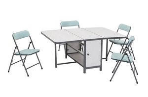 Kids 5pc Fold-n-Store Set, 4 Chairs, 1 Table, White Woodgrain, Teal Blue Chairs, Charcoal Gray Frame for Sale in Columbus, OH