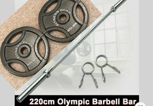 Weights + olympic bar for Sale in Lawrenceville, GA