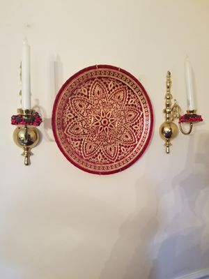 Decorative plate and brass sconces for Sale in Gaithersburg, MD