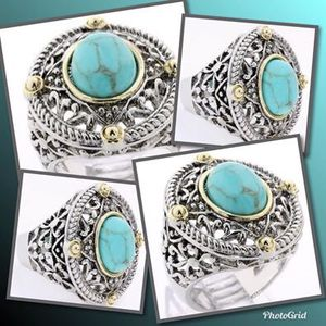 18k Gold High Polish Layered Lead Free High End Jewelry With Turquoise Large Ring Size: 7 for Sale in Brownsboro, TX