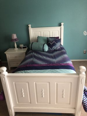 Girl's Twin White Bedframe and Trundle Bed, Dresser with Mirror, and Nightstand for Sale in San Diego, CA
