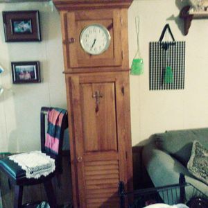 Wooden Clock w shelves inside for storage for Sale in House Springs, MO