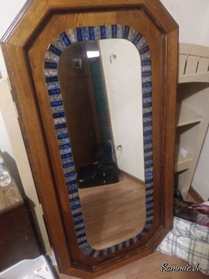 Wall mirror with handmade blue tiles put around it. for Sale in Oklahoma City, OK