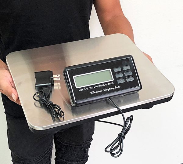 (NEW) $45 LCD AC Digital Floor Bench Scale Postal Platform Shipping 300KG Weight 660lbs
