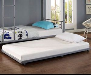 White Twin Roll-Out Trundle Bed Frame A15-284 for Sale in St. Louis, MO