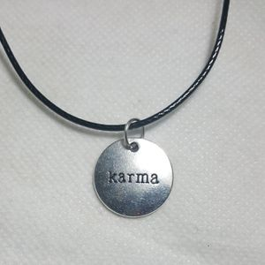 """Karma Silver plated Necklace. Charm pendant Comes with 18"""" in long Leather Code Beautiful Necklaces for Sale in Queens, NY"""