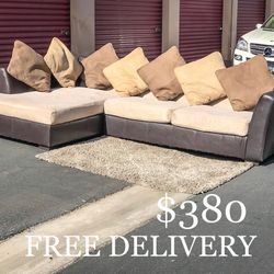 Ashley Furniture 2 Piece Sectional Couch w/ Chaise & Pillows for Sale in Las Vegas,  NV