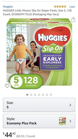 Huggies little mover slip-on diaper pants, size 5, 128 Count for Sale in Nutley, NJ