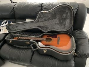 Like new fender acoustic guitar with extra string, picks, and TKL hard guitar carrying case with soft inner liner (barely used) for Sale in Spring Hill, FL