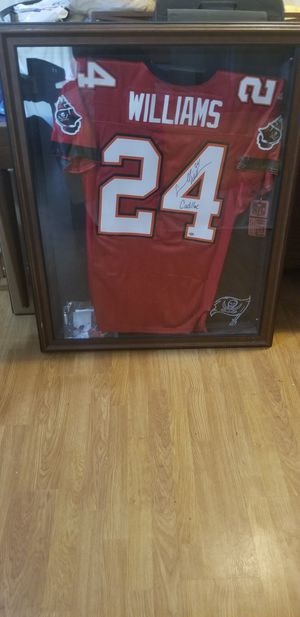 Signed Cadillac Williams jersey framed for Sale in Port Richey, FL