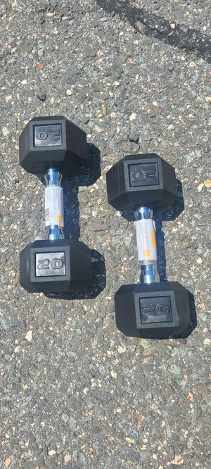 20lb Rubber Hex Coated Dumbbells - New for Sale in Newton, MA