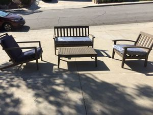 Patio Set Couch, 2 Chairs & Table Solid Wood Brand New for Sale in Walnut, CA