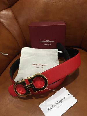 Salvatore Ferragamo Red Reversible Black Belt *Authentic* for Sale in Queens, NY