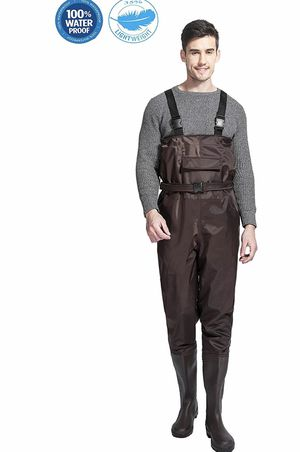 Chest Waders Cleated Fishing Hunting Waders for Men and Women with Boots 2-Ply Nylon/PVC Waterproof Bootfoot Wader Camouflage/Brown for Sale in Lorton, VA