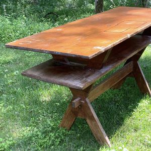 Vintage Antique Wood 2 Tier Farm Trestle Dining Kitchen Table Island Console Entryway for Sale in Chapel Hill, NC