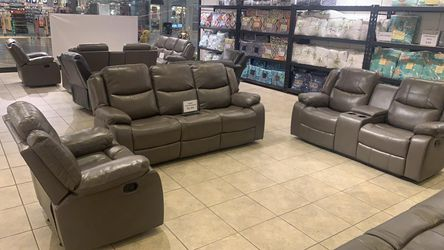 BRAND NEW Abbyson, 3-Piece Reclining Set - Sofa, Console Loveseat and Glider Chair. Light Gray for Sale in Hilliard,  OH