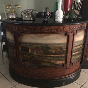 Bar + China + 3 bar stools for Sale in Highland, CA