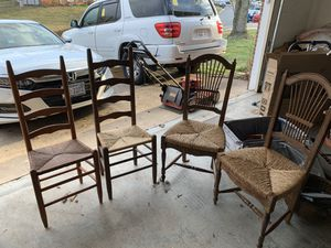 2 ladder back rush & 2 regular rush seated chairs. Two regular are made in Italy. for Sale in Sterling, VA
