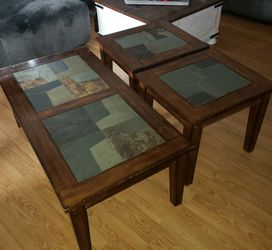 Set of 3 Coffee Tables For Sale, Dark Wood And Stone Tops for Sale in Torrance,  CA